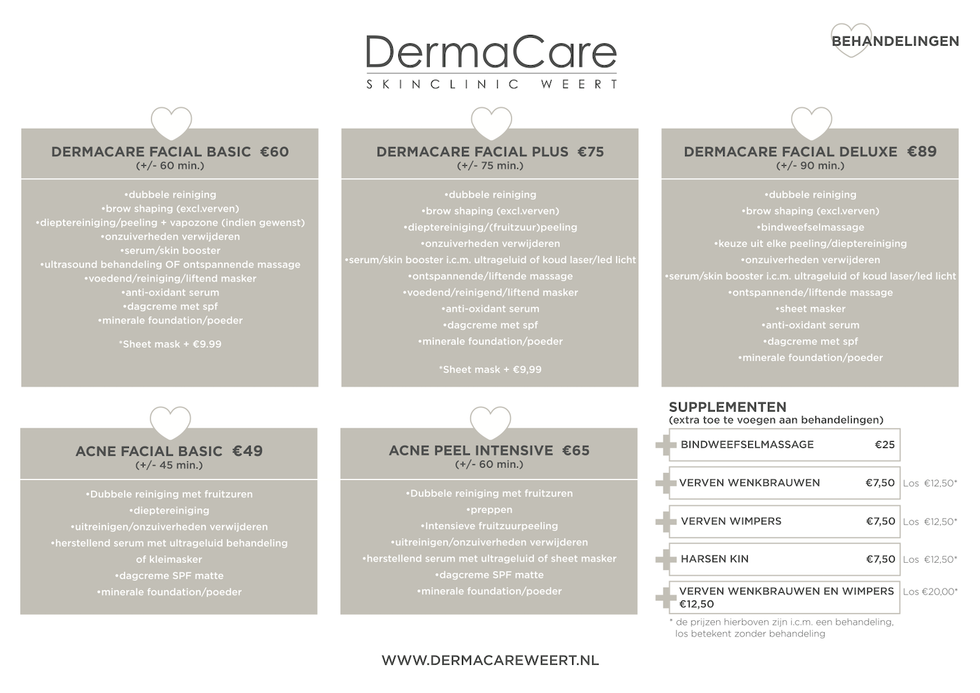 Tarieven DermaCare Skinclinic Weert